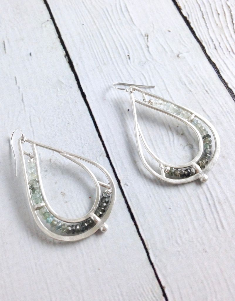 Handmade Matte Sterling Silver Teardrop Earrings with Row of  Moss Aquamarine Stones
