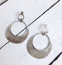 Handmade Sterling Silver Oxidized and Textured Circle Earrings with Solid Halfmoon