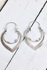 Handmade Matte Sterling Silver Lotus Shaped Earrings