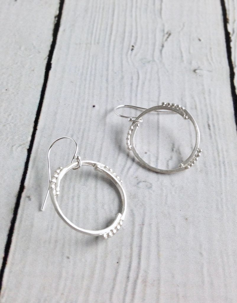 Handmade Matte Sterling Silver Circle and Dot Earrings
