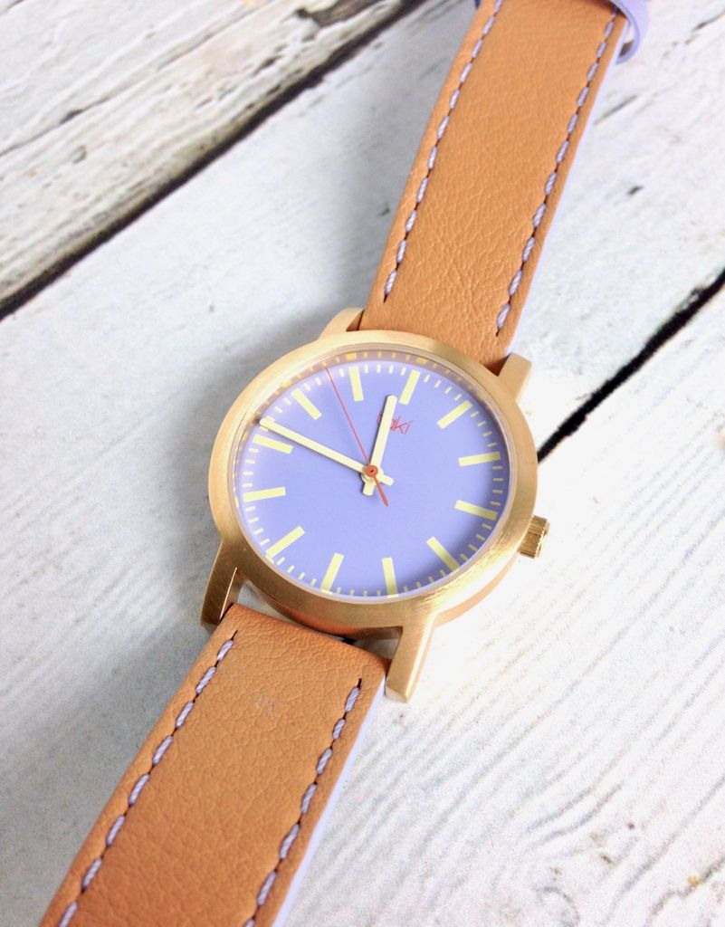 Eden Watch, Pale Purple Face with a Tan Band and Gold-Tone Bezel
