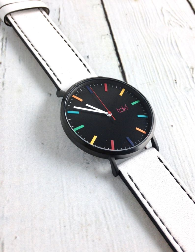 Linden Watch, Black Face and White Band with a Rainbow of indicators