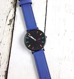 Linden Watch, Black Face and Royal Blue Band with a Rainbow of Indicators