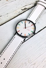 Linden Watch, White Face and Band with a Rainbow of Indicators