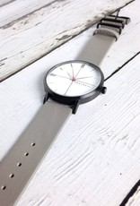 Aries Watch, White Face with Grey Leather Strap