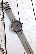 Taurus Watch, Grey Face with Red Numbers and Grey Leather Strap