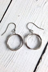 Handmade Earrings with Medium Organic Antiqued  Silver Circle