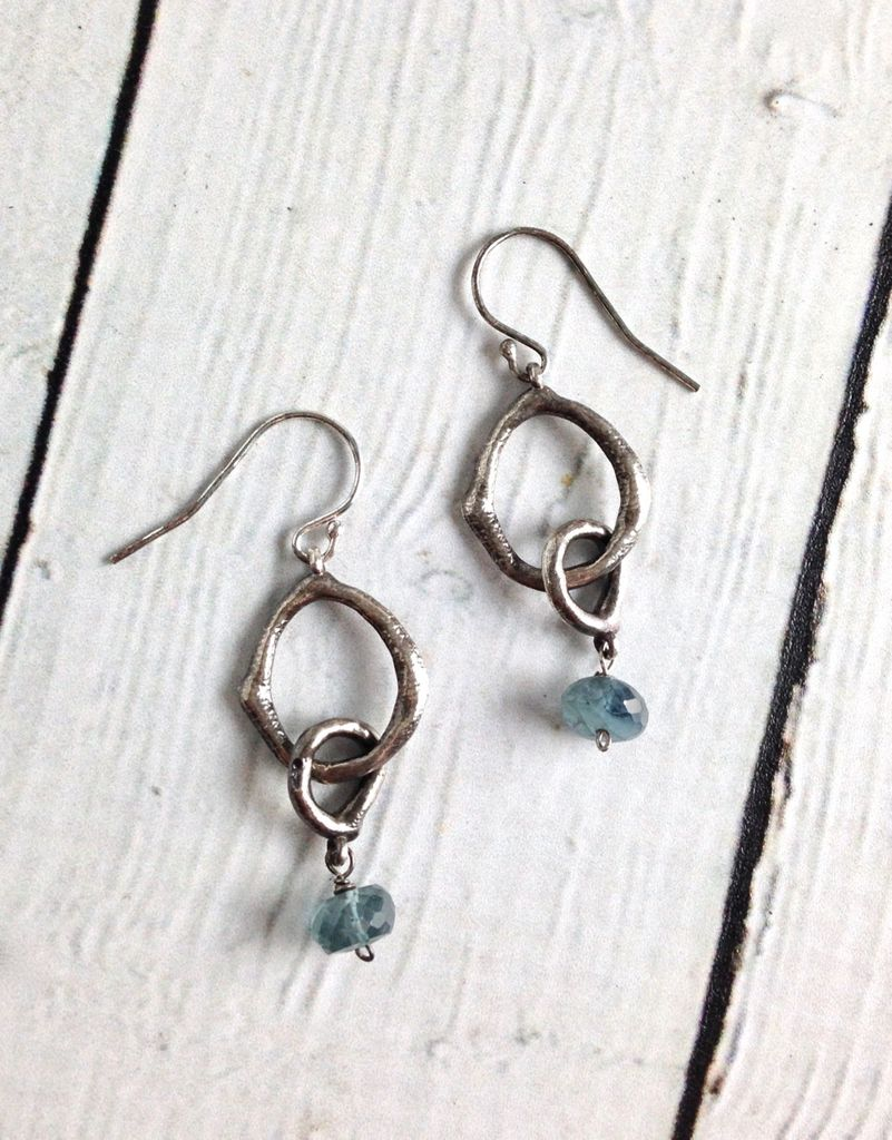 Handmade Earrings with Small Antiqued Silver Circle and Aquamarine Stone Drop