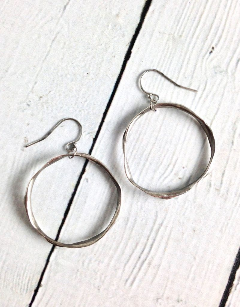 Handmade Earrings with Large Organic Antiqued Silver Circle