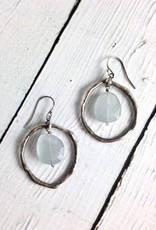 Handmade Earrings with Large Antiqued Silver Circle and Aquamarine Stone Drop