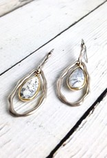 Handmade Earrings with Teardrop Shaped Dendritic Agate, 18k Gold Vermeil and Antiqued Sterling Silver