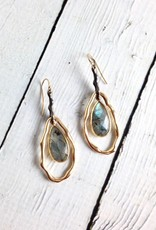 Handmade Earrings with Large Teardrop Shaped Labradorite, 18k Gold Vermeil and Antiqued Sterling Silver