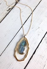 Handmade Necklace with Large Teardrop Shaped Labradorite, 18k Gold Vermeil and Antiqued Sterling Silver