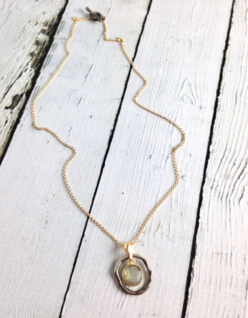 Handmade Necklace with Small Round Labradorite, 18k Gold Vermeil and Antiqued Sterling Silver