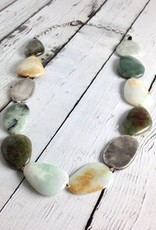 Handmade Chunky Necklace with Large Polished Burmese Jade and Antiqued Silver Stones