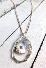 Handmade Necklace with Large Teardrop Shaped Dendritic Agate, 18k Gold Vermeil and Antiqued Sterling Silver