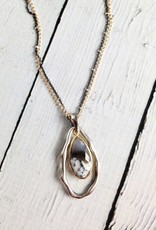 Handmade Necklace with Teardrop Shaped Dendritic Agate, 18k Gold Vermeil and Antiqued Sterling Silver