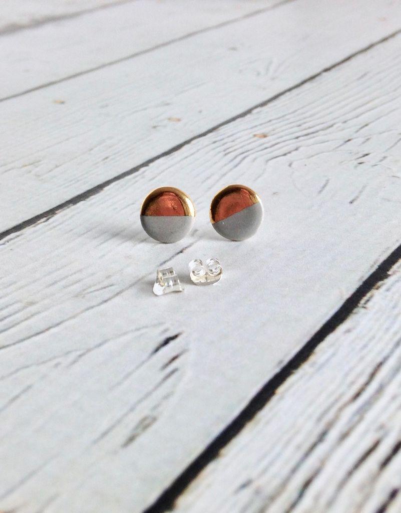 Handmade Stoneware Earring, Grey