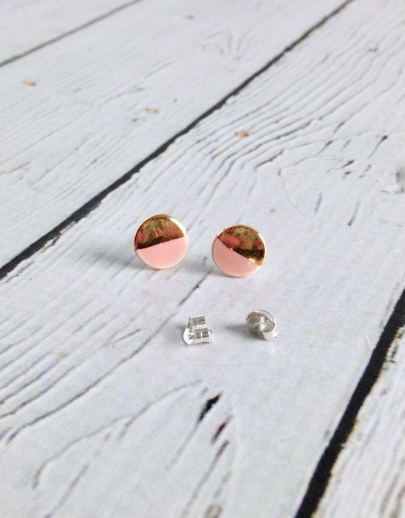 Handmade Stoneware Earring, Desert Rose