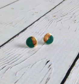 Handmade Stoneware Earring, Emerald