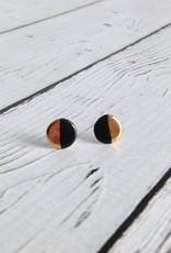 Handmade Stoneware Earring, Shiny Black
