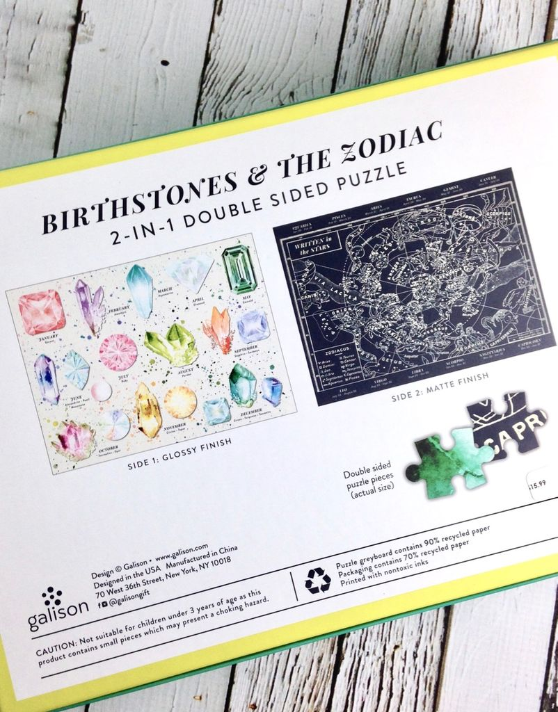 Birthstones & The Zodiac 2-in-1, Double Sided Puzzle