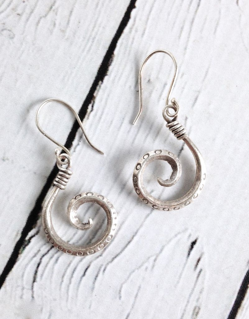 Hilltribe Silver Hook Earrings With Stamped Circles