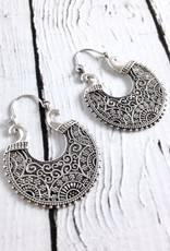 Sterling Silver Fancy Scroll Hook Hoop Earrings