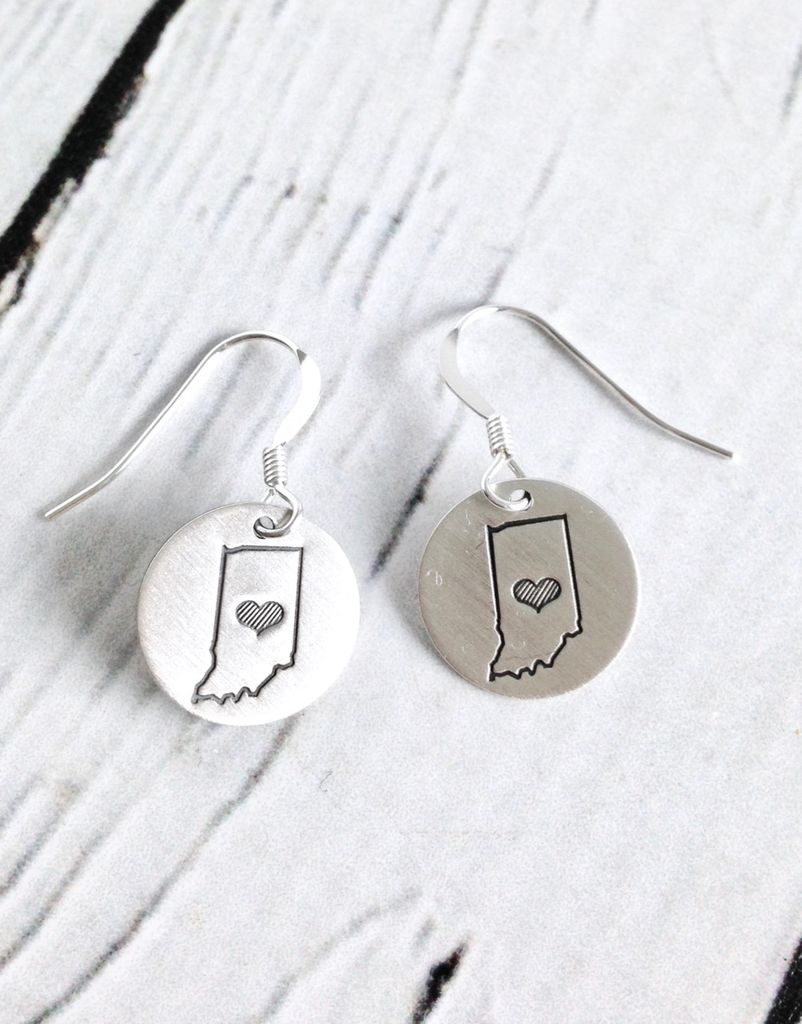 Handstamped Indiana Striped Charm Earrings