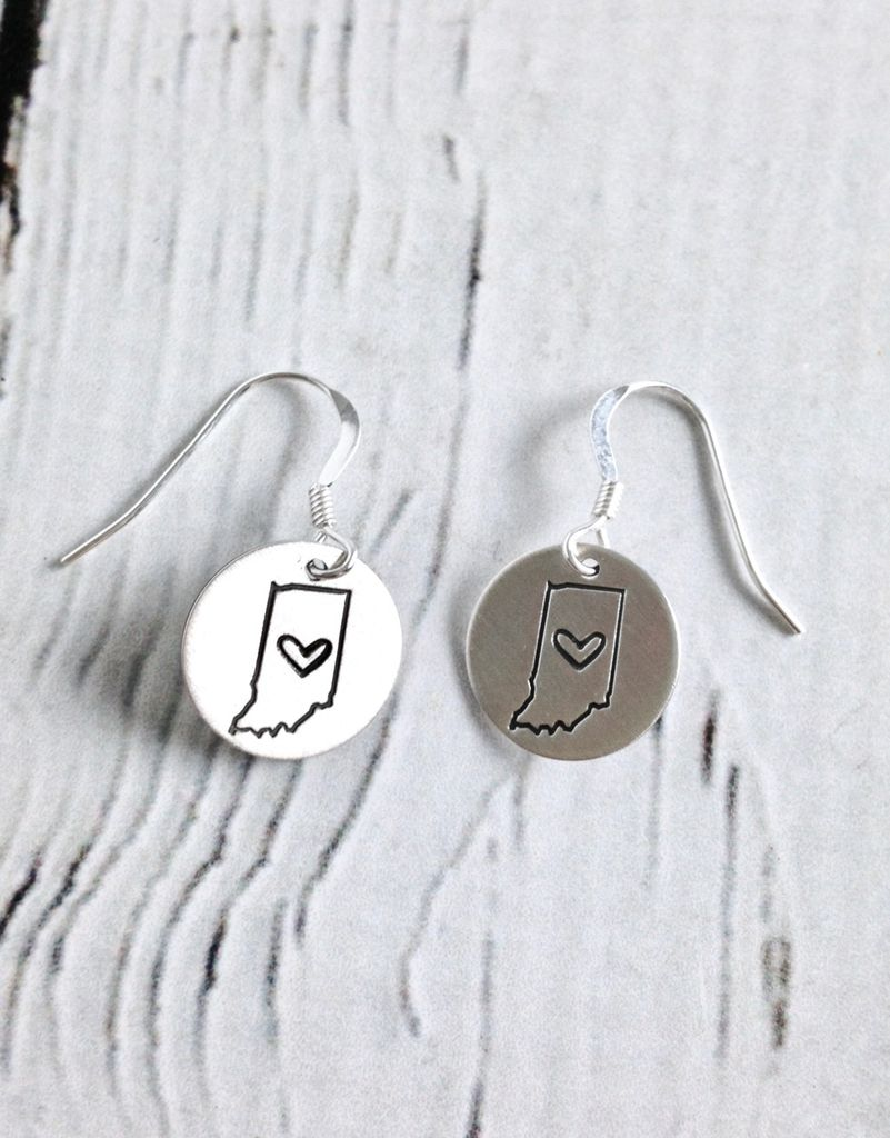 Handstamped Indiana Heart Earrings