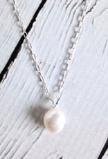 "Sterling Silver White Baroque ""Peals of Love"" Necklace"