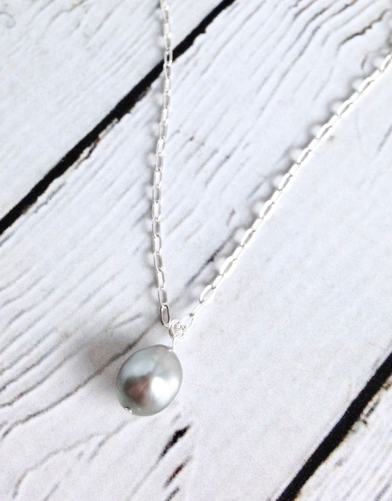 """Sterling Silver Black Baroque """"Pearls of Love"""" Necklace"""