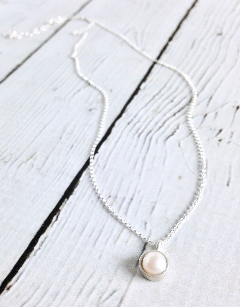 "Sterling Silver Large Bezeled ""Pearls of Love"" Necklace"