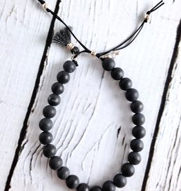 "Handmade ""No Worries"" Black Bead Stone Bracelet"