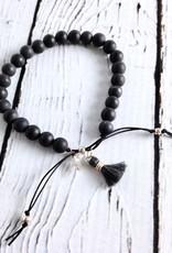 "Handmade ""No Worries"" Black Bead Stone Bracelet"