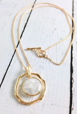 Handmade Necklace with Round Moonstone and 18k Gold Vermeil