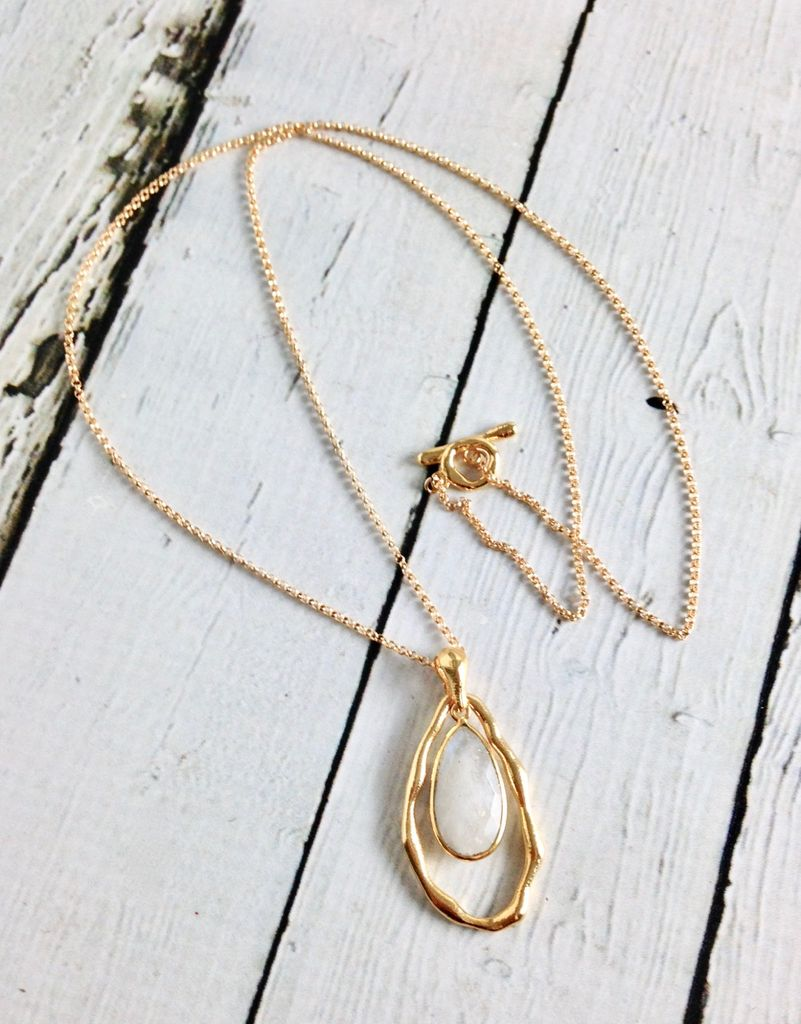 Handmade Necklace withTeardrop Shaped Moonstone and 18k Gold Vermeil