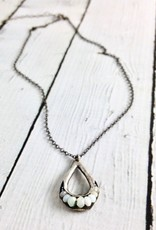 Handmade Necklace with Antiqued Silver Teardrop with Outline of Aquamarine Stones