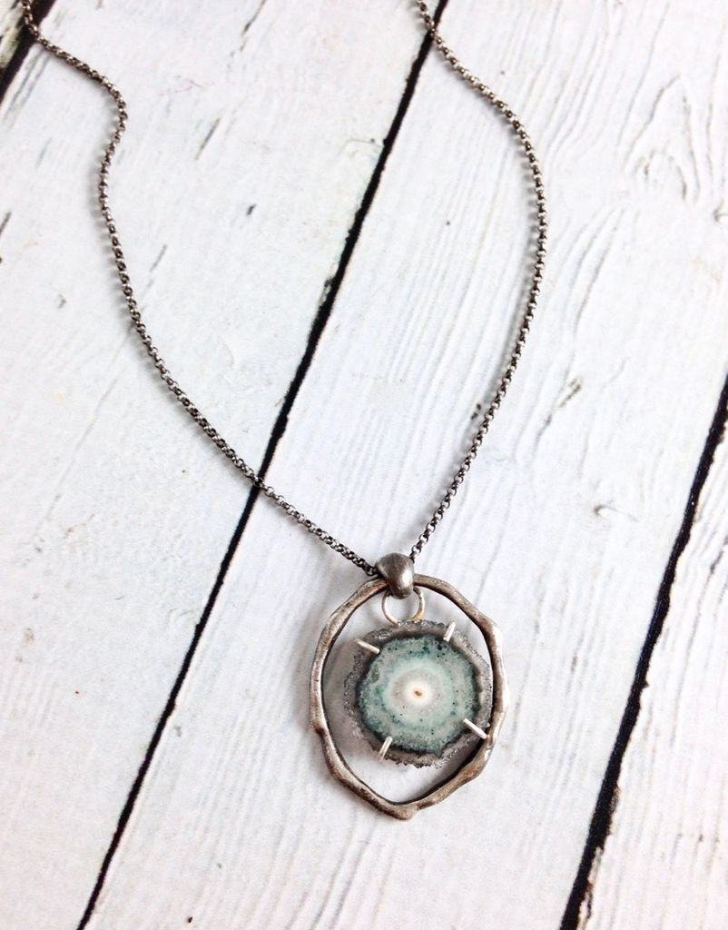 Handmade Necklace with Slice of Aquamarine and Oxidized Silver