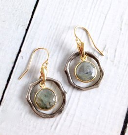 Handmade Earrings with Small Round Labradorite, 18k Gold Vermeil and Antiqued Sterling Silver