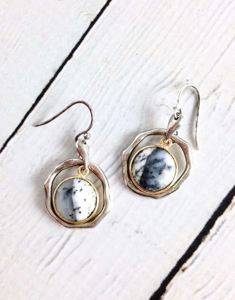 Handmade Earrings With Round Dendritic Agate 18k Gold Vermeil And Antiqued Sterling Silver