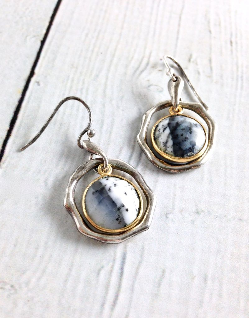 Handmade Earrings with Round Dendritic Agate, 18k Gold Vermeil and Antiqued Sterling Silver