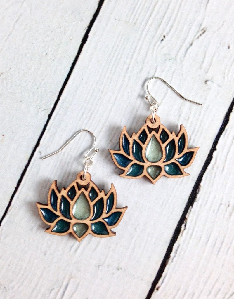 Handmade Wood Lotus Earrings With Deep Green Resin Ss Wiressustainable Hard Maple