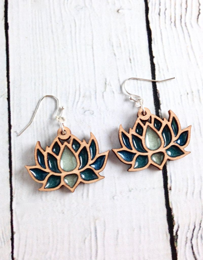 Handmade Wood Lotus Earrings with Deep Green Resin, SS wiresSustainable Hard Maple Wood, eco friendly colored resin, non-toxic wax.