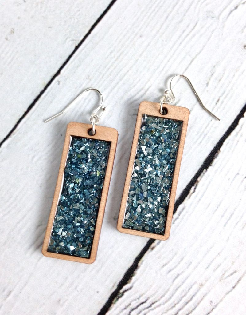 Handmade Beach Glass Glitter Rectanglular Earrings, SS wires and Chunky German Glass GlitterSustainable Cherry Wood, eco friendly colored resin, non-toxic wax.