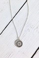 "Handmade ""Gratitude"" Small Center Flower Mandala Necklace"
