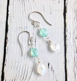 Handmade Silver Earrings with Aqua Chalcedony, Moonstone
