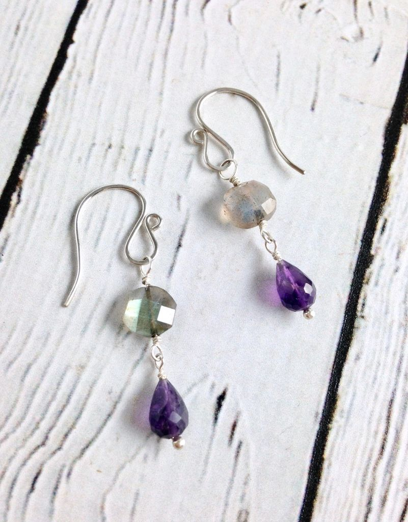 Handmade Silver Earrings with Labradorite, Amethyst