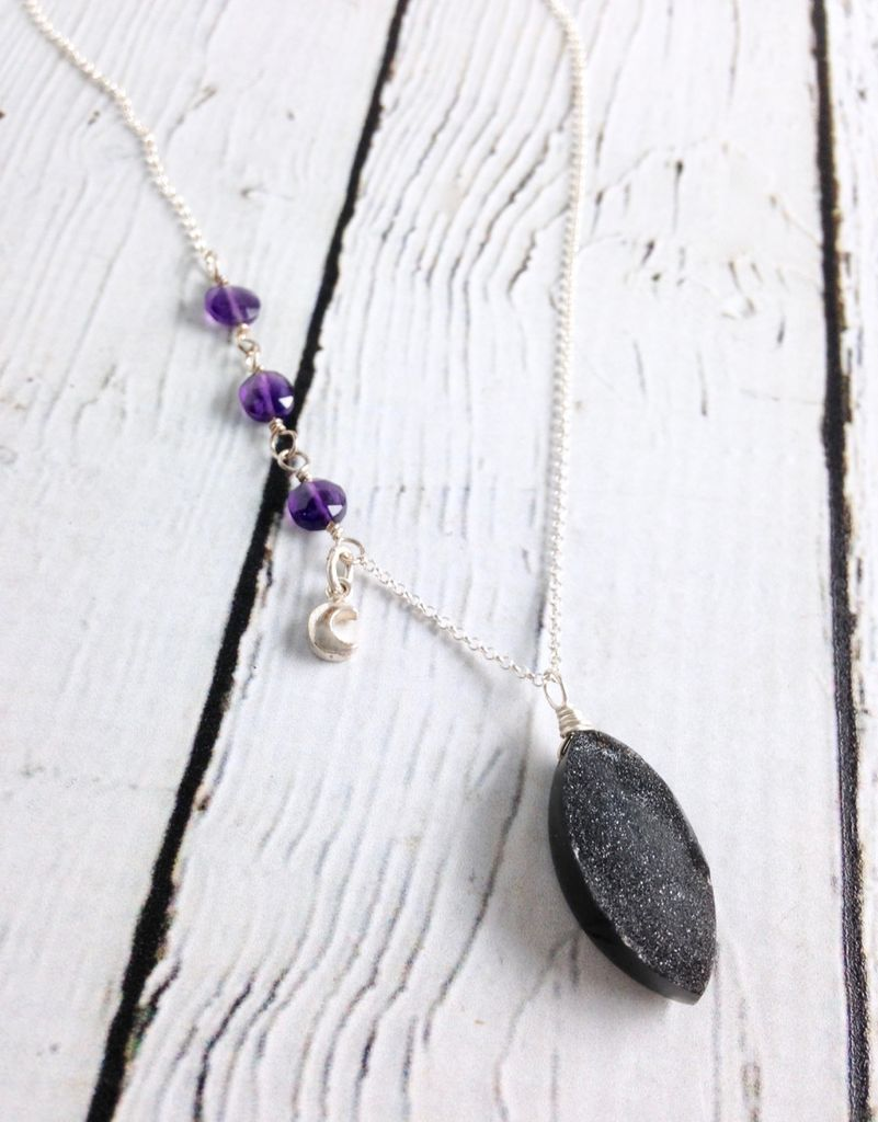Handmade Silver Necklace with Black Druzy, Amethyst, Moon