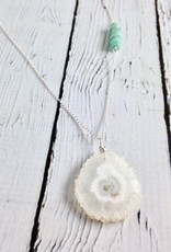 Handmade Silver Necklace with Solar Quartz, Amazonite